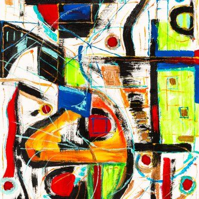 peinture abstraite d'Eric Khellas avec entremêlement de formes geometriques art contemporain