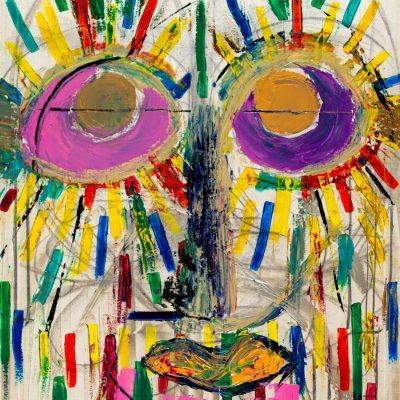 peinture contemporaine semi abstraite d'inspiration inca