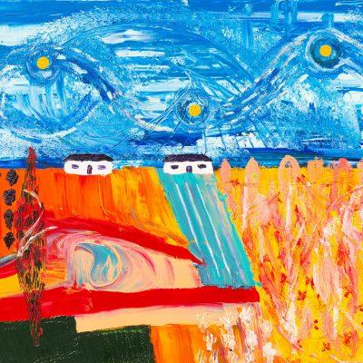 peinture figurative de mas provencaux architecture provencale paysage provencal avec ciel bleu