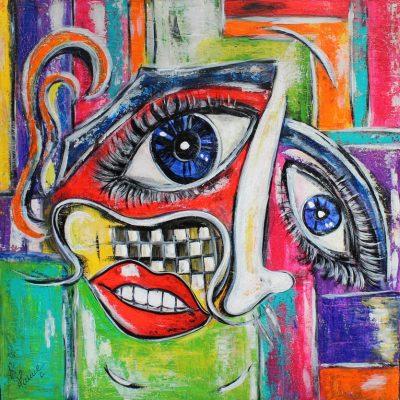art contemporain peinture contemporaine céline lanne visage déformé visage déstructuré