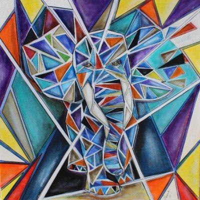 art contemporain peinture d'animal peinture animalière cubisme cubism cubismo déco éléphant