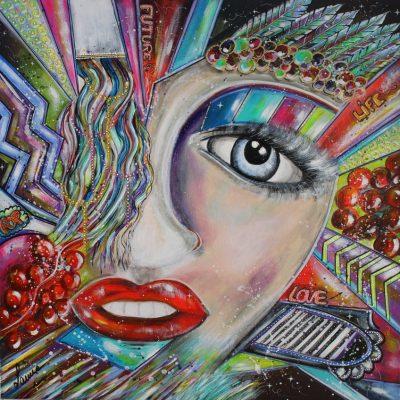 art contemporain céline lanne art en ligne portrait de femme oeil regard