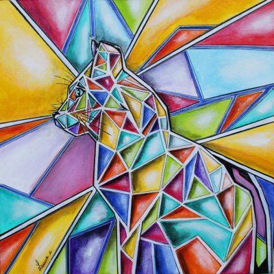 art contemporain peinture d'animal peinture animalière cubisme cubism cubismo panthère