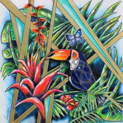 art contemporain peinture animalière céline lanne peinture d'oiseau peinture de toucan